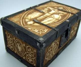 Wood Rosary Gold Cross & Keepsake Crucifix Case RARE NR
