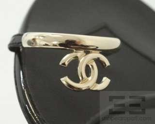Chanel Black Patent Leather Silver Monogram Toe Strap Flat Sandals