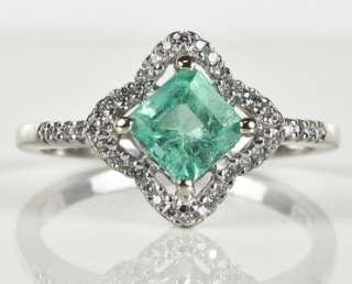 High End Designer 14k White Gold 1.40ctw Colombian Emerald & G VS