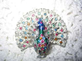 Vtg. 30s Colorful Rhinestone Enamel Peacock Bird Brooch