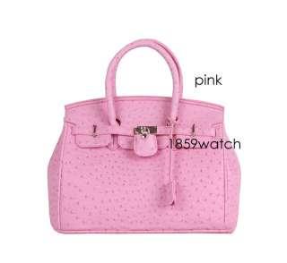 Star style classic ostrich pattern Lock bag Womens handbag W34
