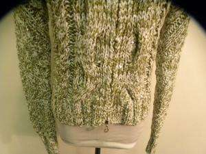 ONE GIRL WHO green knit cardigan sweater top S NWT