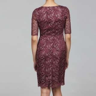 Tahari Womens Burgundy Lace Sheath Dress