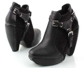 Platform buckle Bootie Ankle boots High Heel Black 4.7