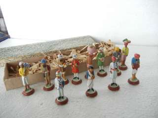 Vintage Boxed Set of 12 Indian Workmen & Royal Clay Figure Toy