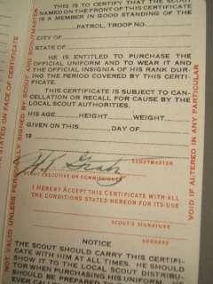 1941 BOY SCOUT REGISTRATION Certificate CARD + Envelope