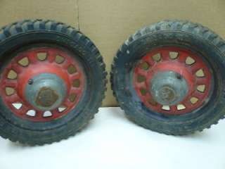 Antique Set of 2 Hamilton Steel Cart Pedal Car Wagon Spoked Wheels Hub