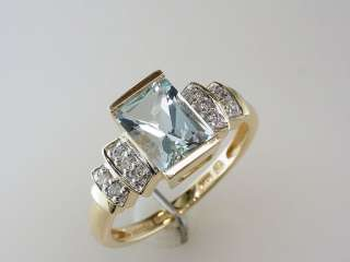 Aquamarine Diamond 2.15ct 14K Yellow Gold Engagement Wedding Ring