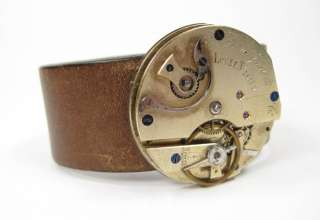 HANDMADE steampunk cuff bracelet LEATHER pocketwatch vintage