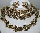 aurora borealis green rhinestone necklace earrings bracelet set parure