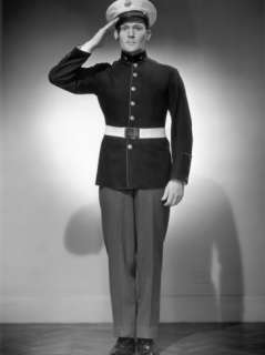 WWII Us Marine Corps Officer in Uniform Saluting Photographic Print by