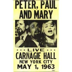 Mary Live At Carnegie Hall 1963 14 X 22 Vintage Style Concert Poster