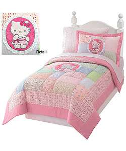 Hello Kitty Floral Patch Twin Quilt Set