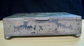 19C. ANTIQUE CHINESE METAL AND WOOD JEWELRY BOX |