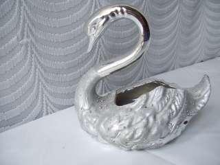 Two Tone Silver Swan Planter figurine pottery Duck Bird Trinket Coin