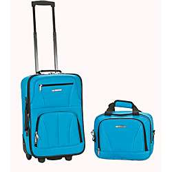 Rockland Turquoise Lightweight 2 Piece Carry On Luggage Set