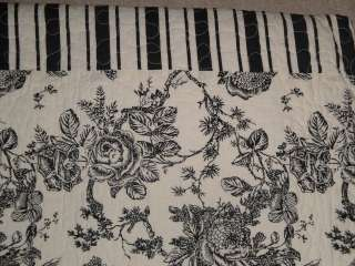 Black Cream White TOILE FLORAL STRIPE French Country FULL QUEEN Quilt