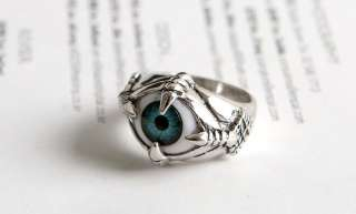 NEW MONSTER BLUE ORANGE EYE MENS & WOMENS FASHION RING TB362