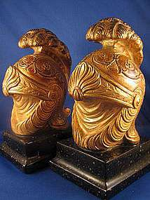 BORGHESE ~ ROMAN HELMET BOOKENDS ~ Book Ends Vintage