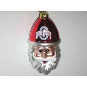 OHIO STATE BUCKEYES Blown Glass Smiling Santa Cap CHRISTMAS ORNAMENT