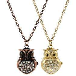 Geneva Platinum Womens Rhinestone accented Owl Necklace Watch