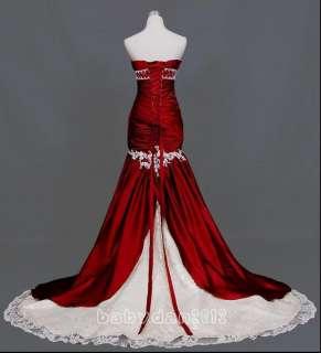Long Red Mermaid Wedding Bridal Prom Gown Full Dress Sz 6 18 Or Custom
