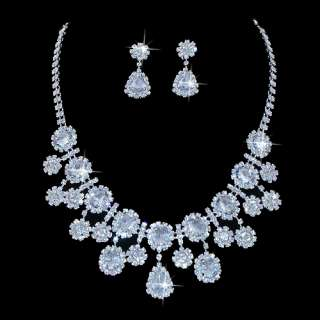 Bridal Jewelry Set Chunky Teardrop Crystal Rhinestone M