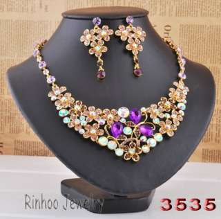 1Set Wedding Bridal Necklace Earring Set AB Rhinestone Crystal
