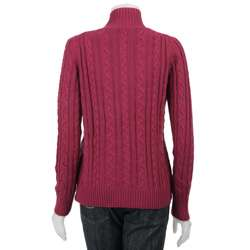 Cullen Womens Zip front Cable Knit Cardigan