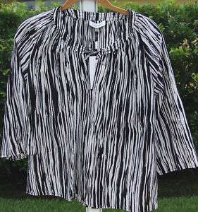 CALVIN KLEIN BLACK WHITE PEASEANTTIE 3/4 SLEEVE SILK BLOUSE SHIRT TOP