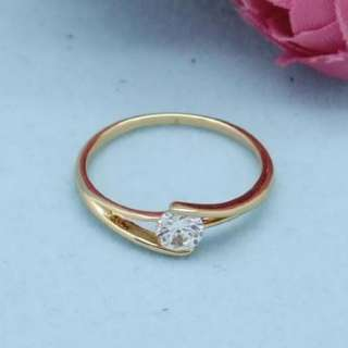18K Pink Rose Gold Plated Round CZ Womens Engagement Wedding Ring