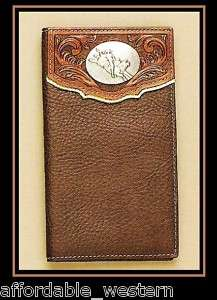 Brown Leather ~Rodeo WALLET~ Bullrider Concho Checkbook