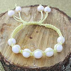 Yellow Macrame Cord Hand knotted White FW Pearl Bracelet (12 mm) (USA