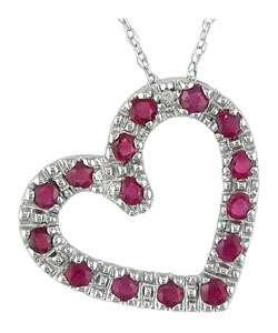 10k White Gold Diamond Ruby Heart Pendant