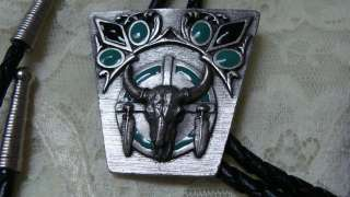 Siskiyou Bull Skull Bolo Tie Bull Skull W/Feathers Southwestern Signed