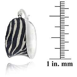 Sterling Silver Enamel Zebra Print Hoop Earrings