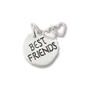 Best Friends Tag with Heart Charm in Sterling Silver