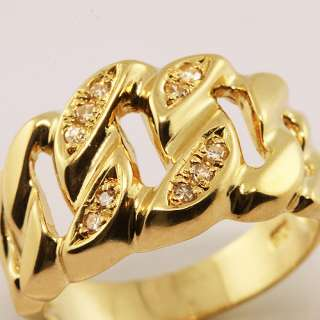 Beautifull 18K Yellow Gold Chain Diamond Ring