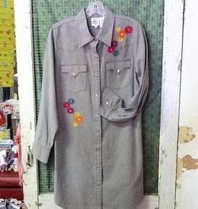 Ivy Jane Gray Western style Shirt Dress w/ Embroidery