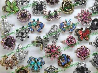 10pcs Pretty rhinestone butterfly flower rings jewelry HC11