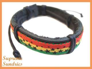 Rasta Reggae Marley Braided Hemp Surfer Leather Bracelet #4