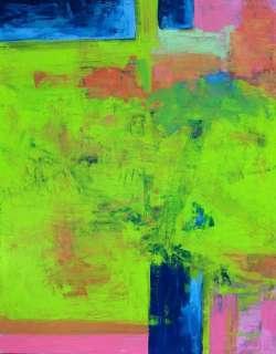 GREEN ABSTRACT Original Art PAINTING DAN BYL Fine Modern Signed Canvas