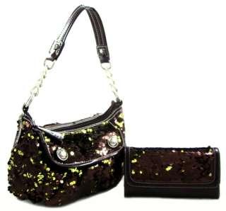 Bling Sequin 2 Way Crossbody Hobo Purse Handbag Wallet SET Bronze FREE