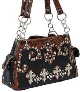 Black Handbag With Crosses, Tooling, Studs and Lots of Bling