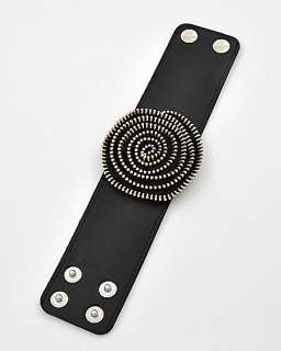 ZIPPER Black Flower Goldtone Snap Button Cuff Bracelet