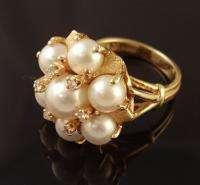 14K YELLOW GOLD LADIES PEARL & DIAMOND RING SZ 6