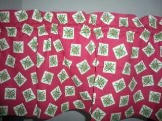 NEW Christmas Holly & Pine Cones Holiday Valance Curtain