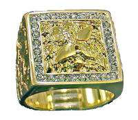 Mens Nugget with CZ 18KT Gold Plated Ring New