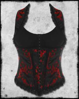 BLACK RED CHINESE FLOWER GOTHIC STEAMPUNK SATIN CORSET TOP SZ
