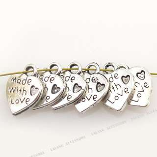 100 Antique Silver Plated Heart Love Alloy Pendant Charms 11mm